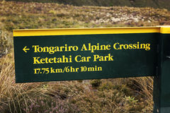 Tongarino Alpine Crossing sign. Sign in Tongarino National Park in New Zealand stock image