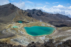 Tongariro Alpine Crossing - Emerald Lakes in New Zealand Royalty Free Stock Image