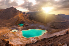 Tongariro Crossing. View at beautiful sunrise over Emerald lakes on Tongariro Crossing track, Tongariro National Park, New Zealand royalty free stock photography