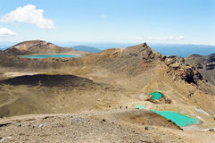 Tongariro lakes, New Zealand. Emerald Lakes, Tongariro National Park, New Zealand royalty free stock photo