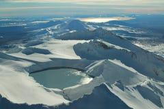Tongariro National Park. Mt Ruapehu and crater lake with Mt. Tongariro and Lake Taupo in the background Stock Photo