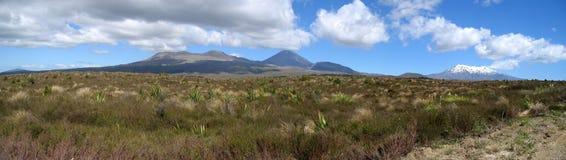 Tongariro National Park, New Zealand. Panorama of the volcanos in the Tongariro National Park on the North Island of New Zealand Stock Photo