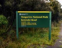 Tongariro National Park, New Zealand. Tongariro National Park sign. Tongariro Alpine Crossing, New Zealand Royalty Free Stock Image