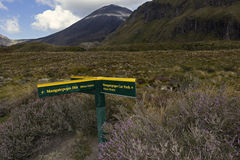 Tongariro National Park in New Zealand. Signs in Tongariro National Park in New Zealand stock photo