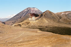 Tongariro Volcanoes, New Zealand. Ruapehu volcano, Ngauruhoe volcano, and Red Crater, Tongariro trek, New Zealand stock photos