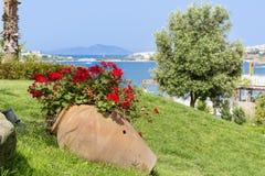 Tongefäß mit blühenden Blumen der Pelargonie auf einem Seehintergrund Lizenzfreie Stockfotografie