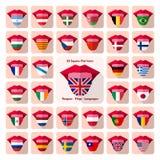 tongen Vlakke taalpictogrammen met de vlaggen van het land Royalty-vrije Stock Fotografie