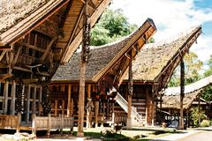Tongkonan houses with horns of buffaloes and wood carving and paintings, traditional torajan buildings. Kete Kesu, Tana Toraja,. Tongkonan houses with horns of Royalty Free Stock Image