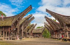 Tongkonan houses, traditional Torajan buildings, Tana Toraja Stock Photography