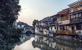 tongli,古老村庄老镇在苏州 免版税库存图片