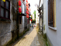 Tongli ancient town alley. Old narrow tong li ancient town alley with lantern hanging on the wall in wujiang district suzhou city jiangsu province China stock image