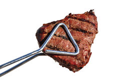 Tongs Holding Grilled Beef Loin Top Sirloin Steak Stock Photo