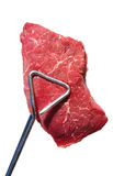 Tongs Holding Raw Beef Loin Top Sirloin Steak Royalty Free Stock Photography