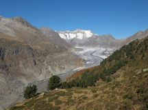 Tongue Of The Aletschgletscher. Aletschgletscher, longest glacier in the Alps. UNESCO World Heritage Site stock photo