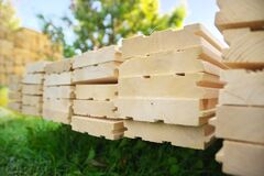 Tongue And Groove Pine Boards Stock Photo