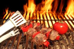 Tongue Hold BBQ Beef Shish Kebab With Vegetables On The Hot  Fla Stock Images