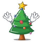 Tongue out Christmas tree character cartoon. Vector illustration Royalty Free Stock Images