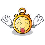 Tongue out chronometer character cartoon style. Vector illustration Royalty Free Stock Photo
