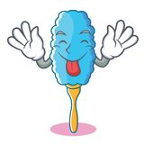 Tongue out feather duster character cartoon. Vector illustration Royalty Free Stock Photos