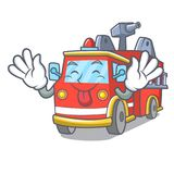 Tongue out fire truck mascot cartoon. Vector illustration Royalty Free Stock Images