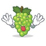 Tongue out green grapes mascot cartoon. Vector illustration Stock Photography