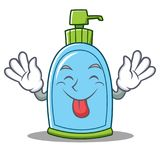 Tongue out liquid soap character cartoon. Vector illustration Stock Image