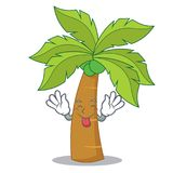 Tongue out palm tree character cartoon. Vector illustration Stock Photography