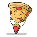 Tongue out pizza character cartoon. Vector illustration Royalty Free Stock Photo