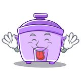 Tongue out rice cooker character cartoon. Vector illustration Stock Photography