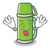 Tongue out thermos character cartoon style. Vector illustration Stock Photography