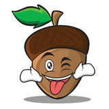 Tongue out with wink acorn cartoon character style Stock Photo