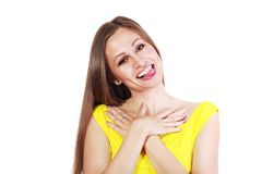 Tongue out. Woman sticking her tongue out Stock Images