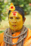 Tongue pierced God woman. An unidentified self proclaimed god woman with her tongue pierced with a spear participate in the Pooram Festival held on April 24 Royalty Free Stock Photos