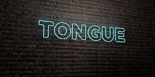 TONGUE -Realistic Neon Sign on Brick Wall background - 3D rendered royalty free stock image Royalty Free Stock Images