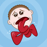 Tongue Tied. Man with blue background vector illustration