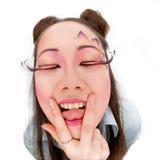 Tongue and v-sign Stock Photo