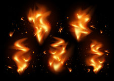 Tongues of flame background. Illustration of tongues of flame and sparks on black background Royalty Free Stock Photo