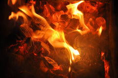 Tongues of flame on the burning coals. Stock Image