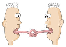 Tongues tied. Illustration of  two characters who speak Stock Image