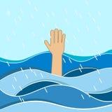 Tonięcie ofiary Ręka potrzebuje pomoc tonięcie mężczyzna Niepowodzenia i ratuneku pojęcie Zdjęcia Stock