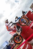 Toni Bou at Spanish National Trial Championship. LA NUCIA, SPAIN - FEBRUARY 11th 2018: 11 time world champion Toni Bou from Repsol Honda Team jumps over an Stock Photo