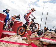 Toni Bou at Spanish National Trial Championship. LA NUCIA, SPAIN - FEBRUARY 11th 2018: 11 time world champion Toni Bou from Repsol Honda Team jumps over an Stock Image
