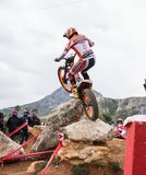 Toni Bou at Spanish National Trial Championship. LA NUCIA, SPAIN - FEBRUARY 11th 2018: 11 time world champion Toni Bou from Repsol Honda Team jumps over an Stock Photos