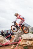 Toni Bou at Spanish National Trial Championship. LA NUCIA, SPAIN - FEBRUARY 11th 2018: 11 time world champion Toni Bou from Repsol Honda Team jumps over an Stock Images