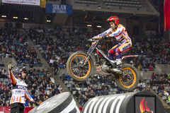 Toni Bou. The world champion, compete at Trial Indoor of Barcelona, on February 9, 2014, in Palau Sant Jordi stadium, Barcelona, Spain. He was the winner Royalty Free Stock Photo
