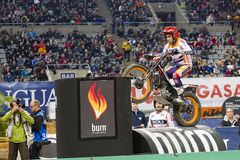 Toni Bou. The world champion, compete at Trial Indoor of Barcelona, on February 9, 2014, in Palau Sant Jordi stadium, Barcelona, Spain. He was the winner Stock Image