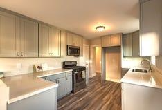 Toni crepuscolari in cucina con la pavimentazione di legno scura Fotografia Stock