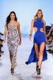 Toni Garrn and Adriana Lima walks Carmen Steffens runway at the FTL Moda SS16 Royalty Free Stock Photos
