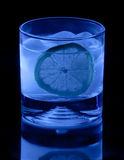 Tonic Water and Lemon in Black Light Stock Image