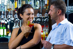 Tonight. Portrait of young attractive couple having date in bar Stock Photography